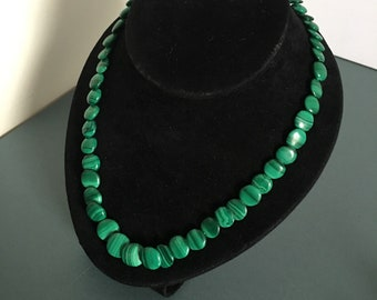 Vintage Necklace with Flat Green stripe Stone Beads Circular in Shape