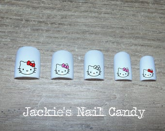 Hello Kitty Nail Decals - Pink, Red, Black Bow - Nail Art - 25 Designs