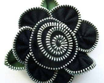 Black Floral Brooch / Zipper Pin by ZipPinning 3031