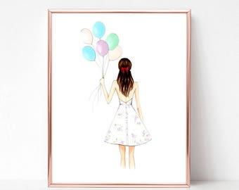 Birthday girl, balloons, pastels, florals, fashion illustration print, art print, sketch,
