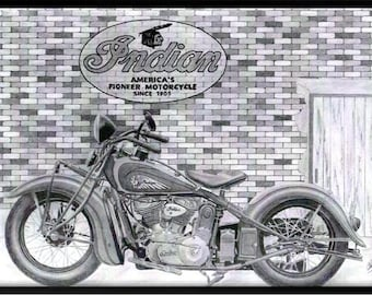 Print of a pencil drawing of a 1937 Indian motorcycle