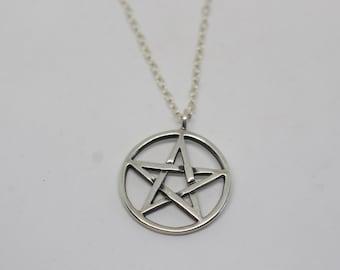 Sterling Silver Star of David Pendant Necklace - Vintage