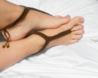 BarefootSandals,boho,bohojewelery,Crocheted barefoot sandals,footjewelery,destinationwedding,sandals,bohoanklet,beachjewelery,footaccessory