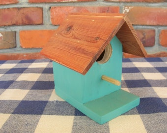 Teal Birdhouse - Cedar, Decorative - Indoor, Outdoor, Garden, Patio, Porch, Shelf Birdhouse