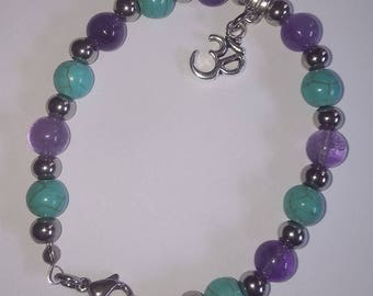 Amethyst and Turquoise Bead Bracelet with OM - Handmade by Reiki Master