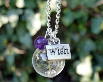 Dandelion necklace, Make a Wish flower seed necklace, Amethyst gemstone necklace
