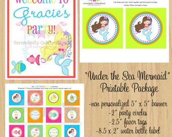 DIY Printable Mini Party Package -Under the Sea Mermaid Collection -Birthday -Baby Shower -Banner Party Sign Favor Tags Water Bottle Labels
