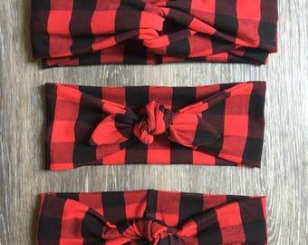 Red Buffalo Plaid Headband, Turban Headband, Top Knot Headband, plaid, headband, baby headband