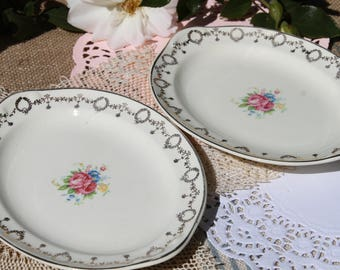 Oval plates Taylor Smith floral with gold gilting