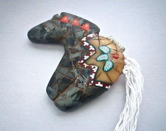 Horse Pendant, Black Marble Necklace, Native American, Polymer Clay, Primitive Necklace, Horse Fetish, Custom Jewelry, Wearable Art