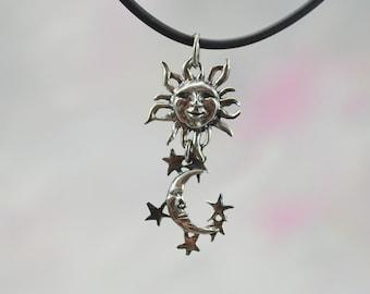 Sun & Moon Fantasy Jewelry Pendant in Sterling Silver