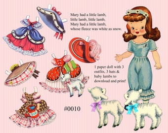 Vintage Nursery Rhyme paper dolls, paperdolls and clothes, download and print, Mary had a little lamb, Mary contrary  printable sheets  0010
