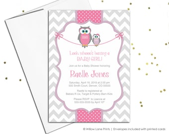 Baby shower invitations for baby girls, owl baby shower invites, chevron invitations, pink purple and gray printable or printed - WLP00781
