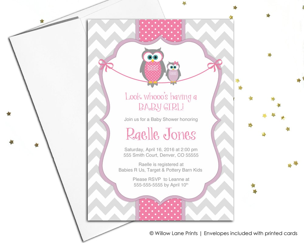 Baby shower invitations for baby girls owl baby shower