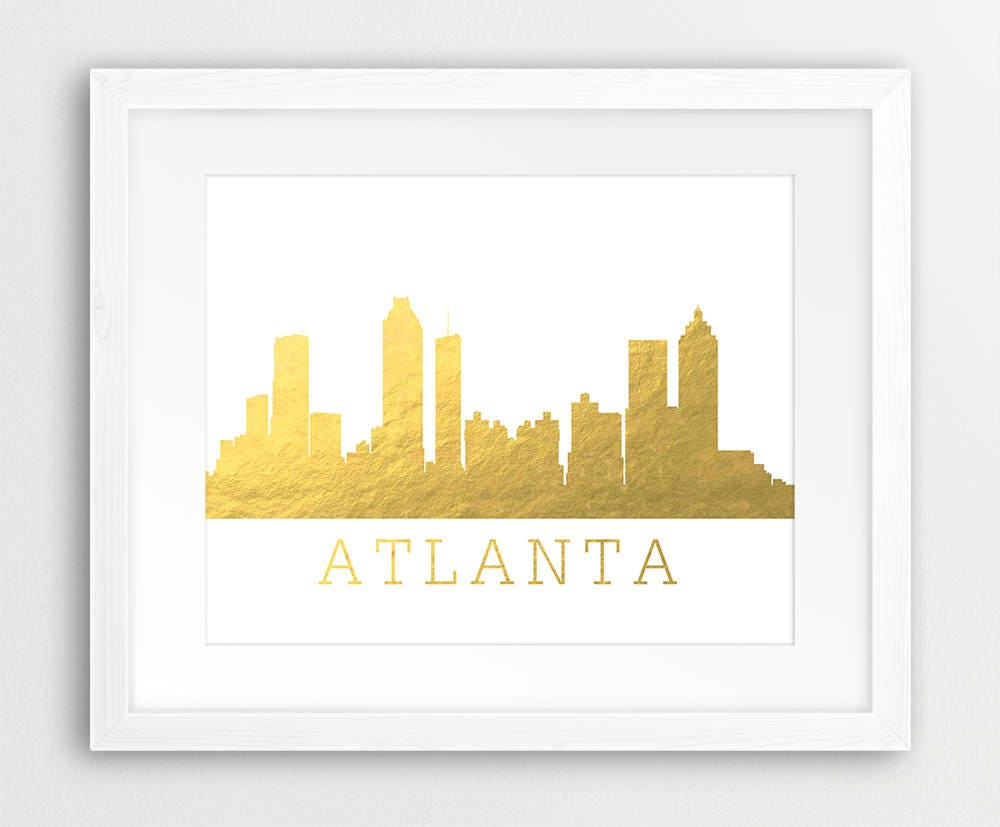 Atlanta Skyline Print Atlanta City Gold Foil Texture Atlanta
