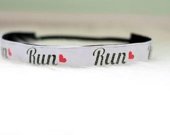 Run Nonslip Headband ll  No Slip - Running Headband - Run - Sport - 5K - 10K - Gift - Heart - White - Bridget Bands