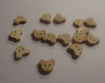 Teddy Bear shaped wooden Buttons set of 15