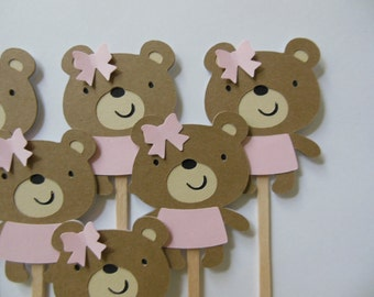 Teddy Bear Cupcake Toppers - Girl Birthday Decorations - Girl Baby Shower Decorations - Gender Reveal Party Decor - Set of 6