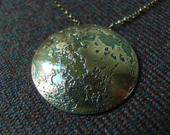 Domed Silver Moon Pendant - Small - Realistic Etched Moon in Sterling Silver