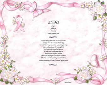 Personalized Name Keepsake on Cancer Awareness / Cancer Survivor Print - Free Shipping