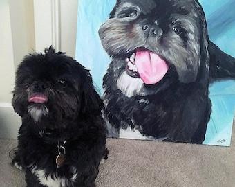 CUSTOM Dog Painting on Canvas.  Pet Portrait.