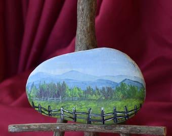 Hand Painted Rock - Scenic Rock - Appalachian Art - Art and Collectibles - Vacation - Smoky Mountains - Rock Art - Miniature Art