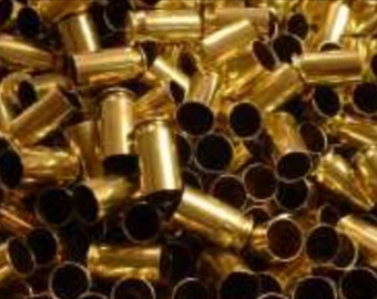 100 polished 9mm spent brass casings for crafts or jewelry.