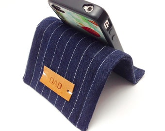 Iphone Stand Holder Smartphone Ipod Stand Personalized Gift Idea For Him  - Pinstripe Blue Denim