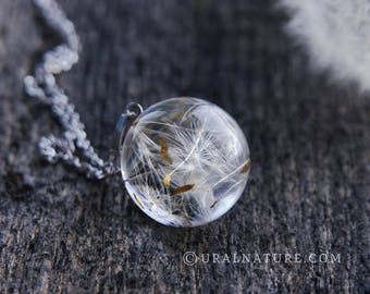 Dandelion necklace ⇷18mm⇸ Real Dandelion jewelry | Make a wish necklace Dandelion seeds jewelry dandelion wish pendant handmade resin jewel