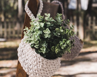 Crochet Hanging Basket--Cream