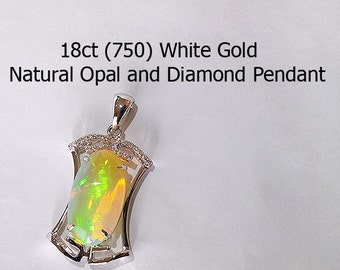 18ct 750 White Gold Natural Precious Crystal Opal and Diamond Pendant