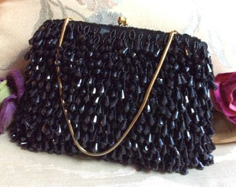 Vintage black dangling beads Walborg evening handbag, black disco dangle beads dressy purse, flapper style black beads formal handbag