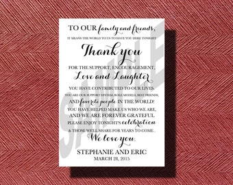 Custom Designed Printable Wedding Day Thank You Card