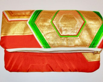 Orange and Gold Hexagons Two-way Fold Over Obi Silk Clutch Purse