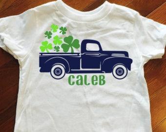 St. Patrick's Shirt, Toddler boy St Patrick's Day shirt, Boy Shamrock Shirt,  Shamrock Truck Shirt,  Monogram Shirt