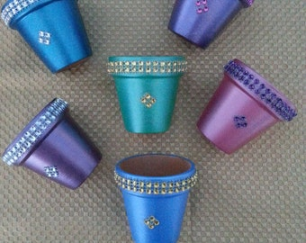 """Set of 6 Hand painted & Bejeweled 2  1/2"""" flower pots. Deep rich, Metallic colors with bling trim *Favors *Shower *Birthday*Luncheon*Party"""