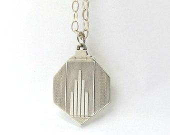Sterling Silver Art Deco Locket | Antique Hexagonal Photo Locket Necklace By Herbert Bushell & Son ltd  Engine Turned