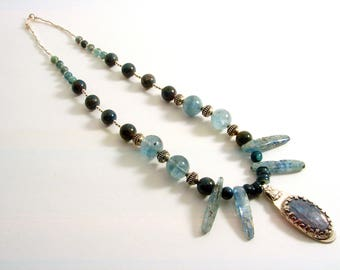 Kyanite, Apatite and Sterling Silver Pendant and Necklace