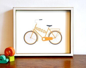 Type a Bike - Personalized Typographic Vintage Bicycle Name Print modern nursery wall art . children decor
