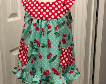 Little Girl Dress- Cherries & Polka dots