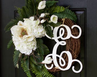 Monogram Wreath, Magnolia Wreath, Hydrangea Wreath, Year Round Wreath, Elegant Wreath, Spring Wreath, Summer Wreath, Door Wreath