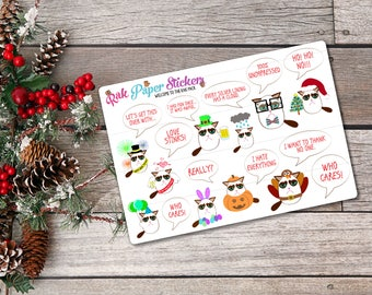 Holiday Grumpy Cat! -set of 21 stickers for your erin condren, PPP, Filofax, or other calendar or planner!