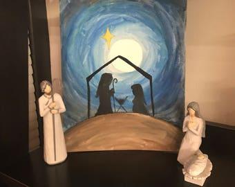 Watercolor Nativity Scene - 8 X 10