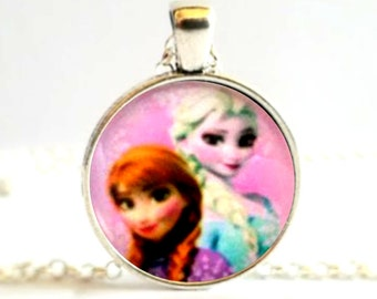 Pink Frozen Elsa and Anna Character Disney Picture Necklace Pendant