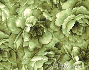 Hoffman - Belleflower - Large Packed Floral - Chartreuse - Fabric by the Yard P7576-499