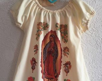 Beautiful Lady of Guadalupe Girl  peasant  dress . Tradicional Mexican dress  Virgin of Guadalupe.