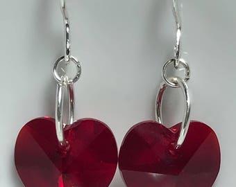 Sterling Silver Swarovski Crystal Heart Earrings, Crystal Heart Earrings, Valentine's Day Earrings, Handmade, Earrings