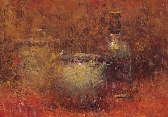 """Still Life , Original Oil Painting  , 9x12 , """"Shelly's Pot"""" , by John Kelley"""