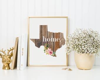 Texas State Print-State Print-Wood State Print-Wood Floral Print-Rustic State Print-Texas Print-Wood State Sign-Texas Farmhouse Wall Decor