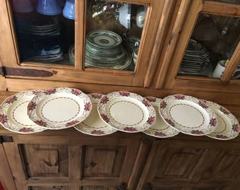 "1930s Antique Wedgwood Consall Pattern Fine Bone China 8"" Salad Plates (set of 7)"